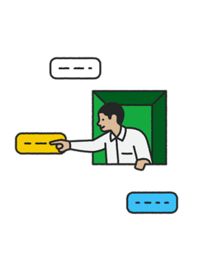 Illustration of man in a green window clicking a chat icon