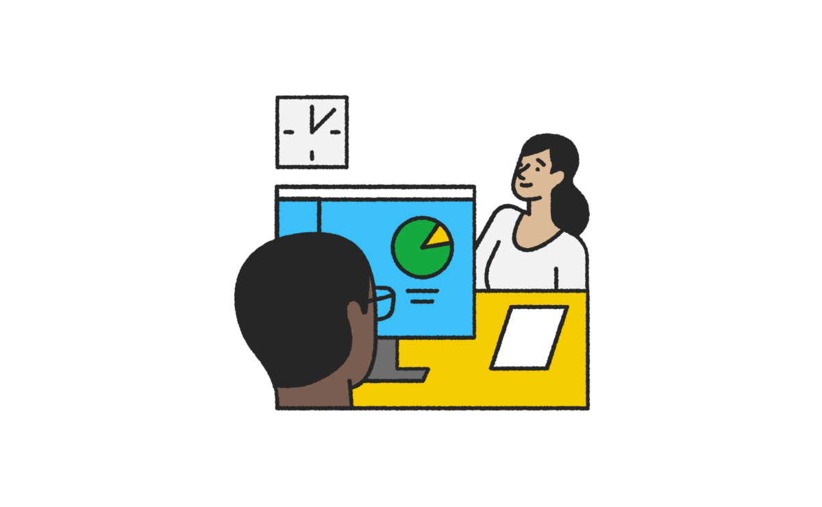 Illustration of a tax pro looking at a screen while talking to a customer