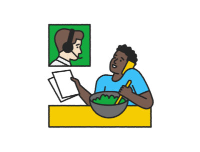 Illustration of black man on the phone holding a document, eating a salad and talking to his tax pro